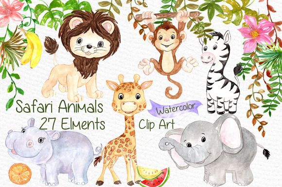 580x386 Watercolor Safari Animals Clipart By Vivastarkids On