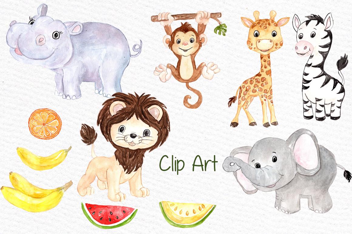 1160x772 Watercolor Safari Animals Clipart