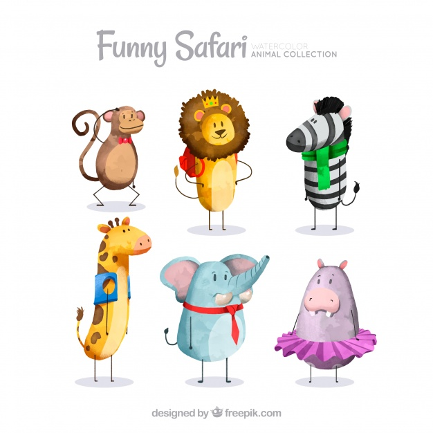 626x626 Watercolor Safari Animals Dressed Up Vector Free Download