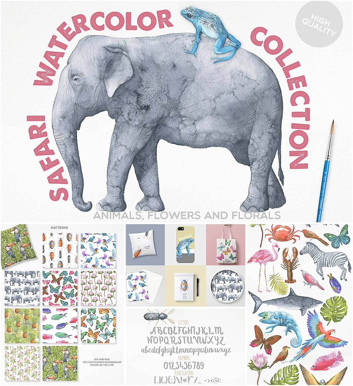 1200x1314 Watercolor Safari Animals Illustration Collection Free Download
