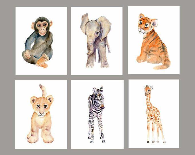 680x540 Baby Wall Art, Nursery Print Set, Safari Animals Watercolor