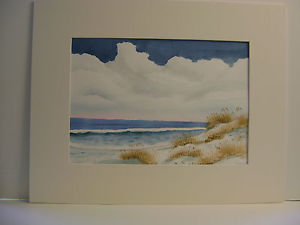 300x225 Original Watercolor Painting Autumn Oats With Ocean And Waves And