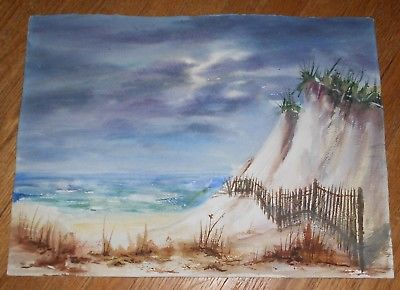 400x290 Original Watercolor Painting Seascape Beach Sand Dunes Signed