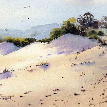 450x450 Sand Dunes Fingal Bay Watercolor Painting Paint And Draw