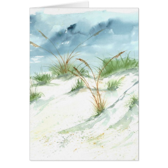 540x540 Sand Dunes Beach Seascape Nautical Watercolor Art