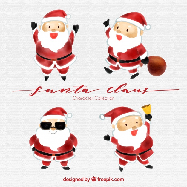 626x626 Pack Of Four Watercolor Santa Claus Characters Vector Free Download