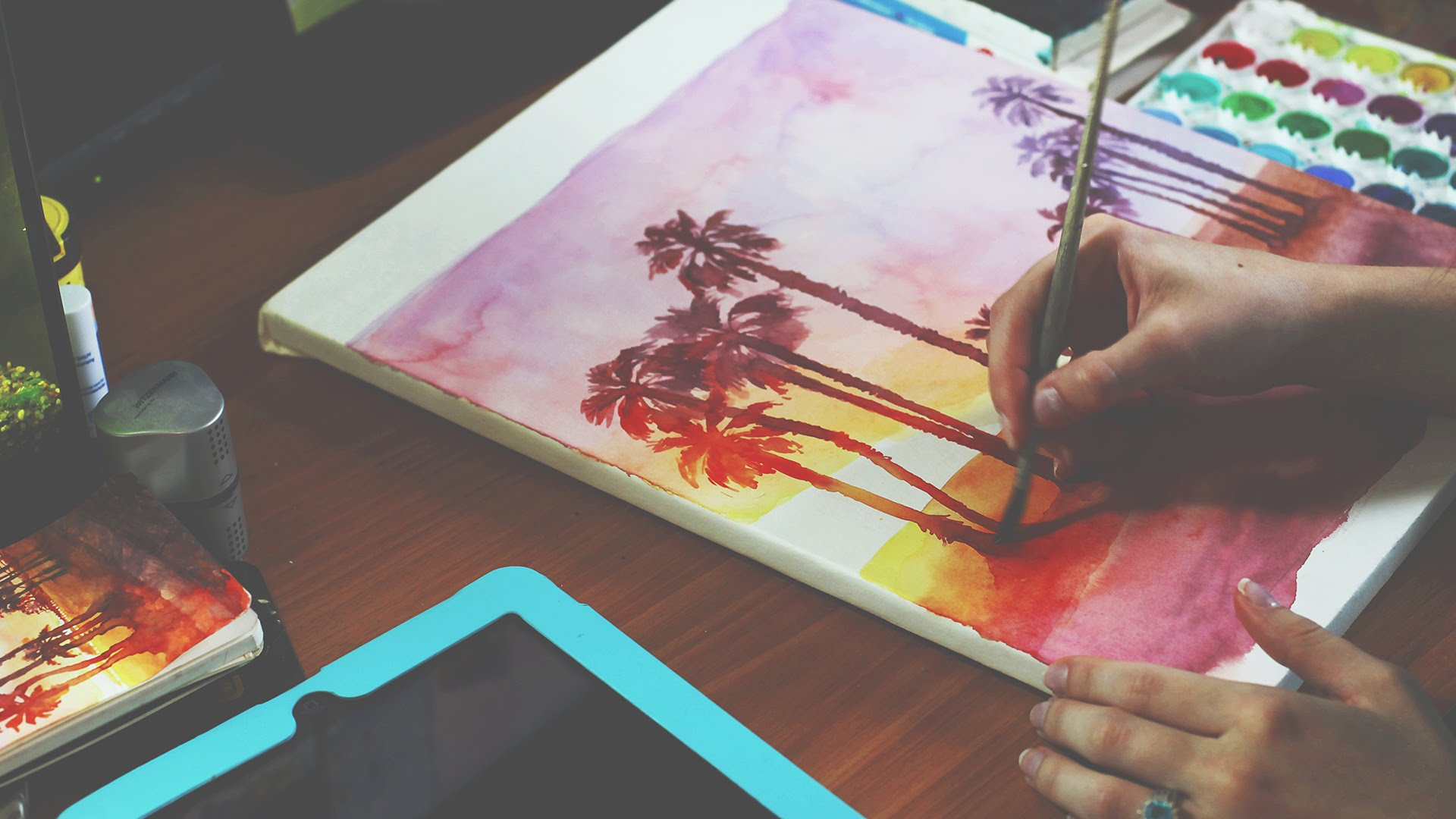 1920x1080 Speed Up Painting Of Santa Monica Landscape In Watercolor