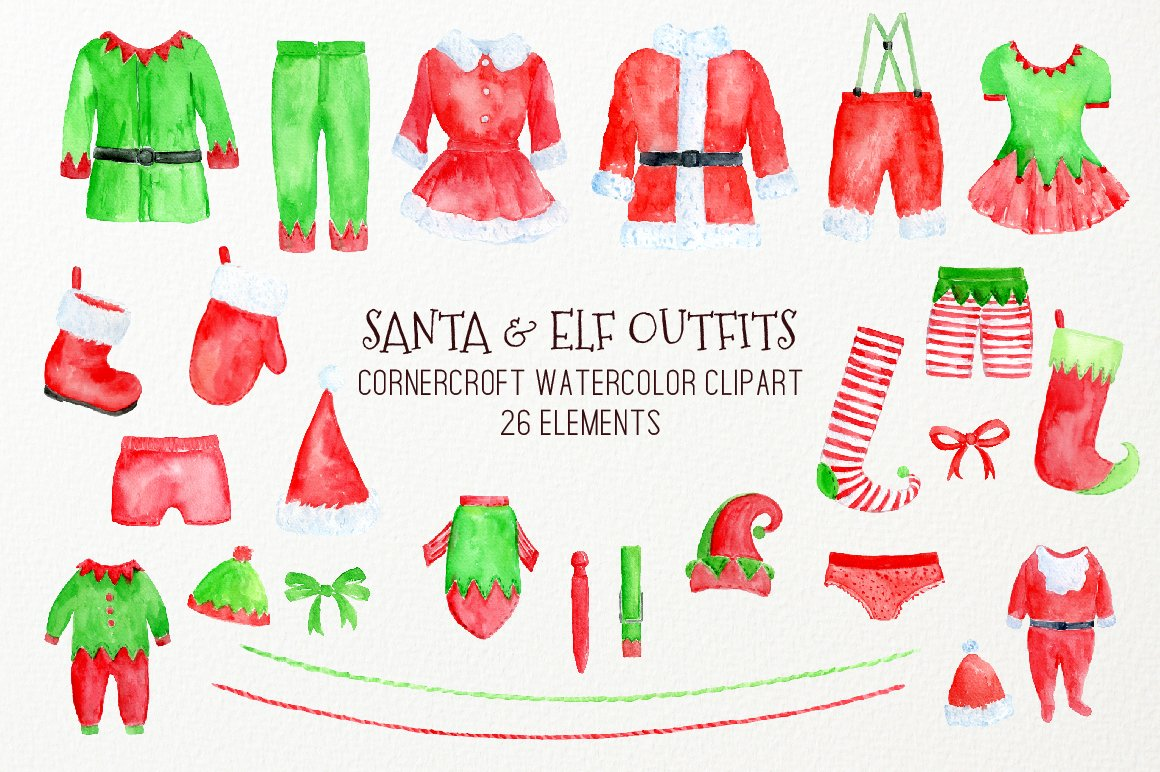 1160x772 Watercolor Clipart Christmas Santa Outfit, Elf Outfit On Washing