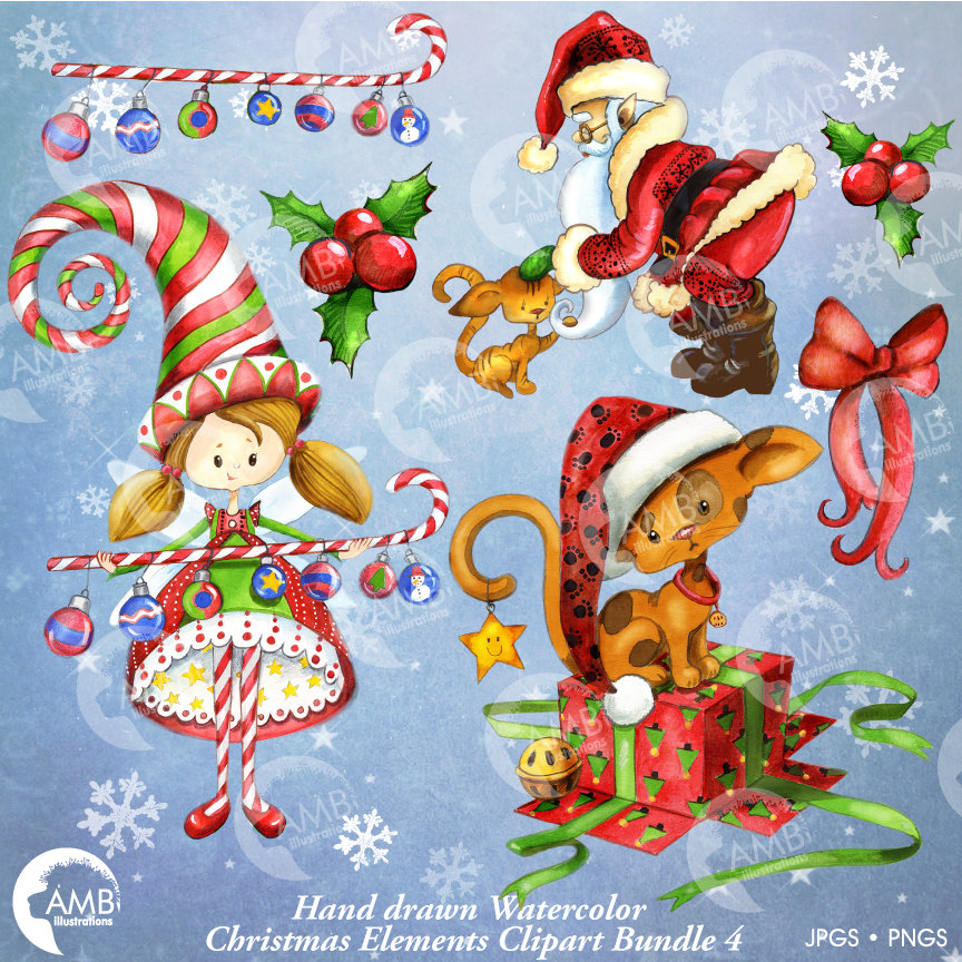 864x864 Christmas Clipart Watercolor, Holiday Planner, Christmas
