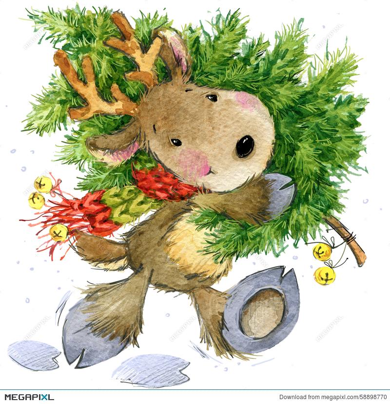 800x830 Funny Deer Santa Claus. Watercolor Illustration Illustration
