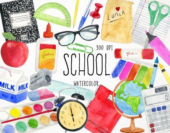 570x446 Watercolor School Clipart Teacher Clipart School Clip Art Etsy