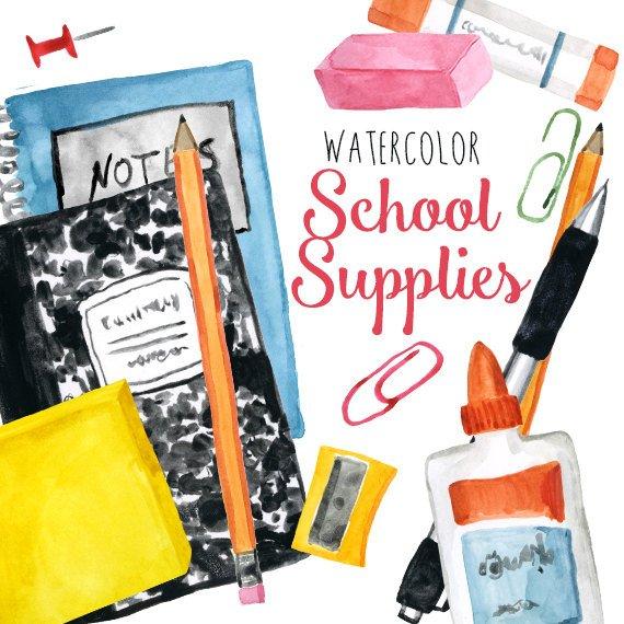 570x570 Watercolor School Supplies Clip Art Back To School Clipart Etsy