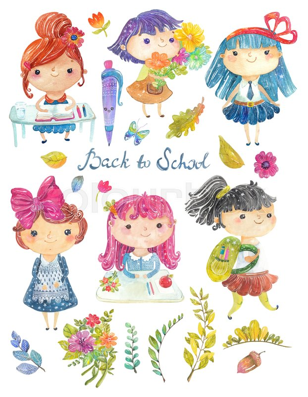 622x800 Welcome Back To School, Cute Watercolor School Kids With Floral