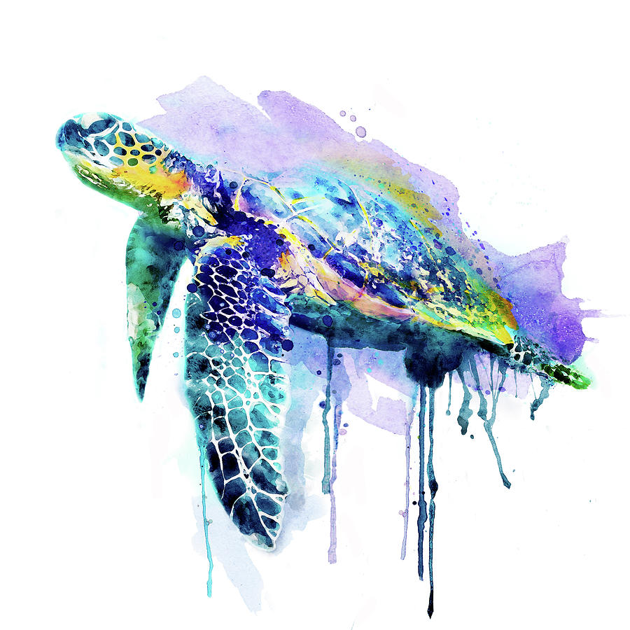 900x900 Watercolor Sea Turtle Painting By Marian Voicu