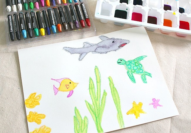 650x456 Cool Ocean Art Project For Kids Using Salt And Watercolor Paint