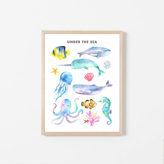 570x570 Printable Ocean Animals Sea Animals Watercolor Sea Animals Etsy