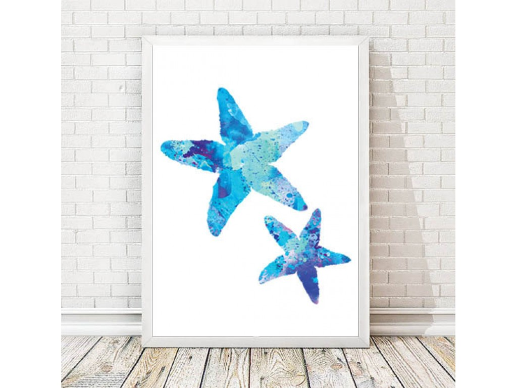 1024x768 Sea Star Watercolor Print Sealife Art Sea Painting Ocean Art Blue
