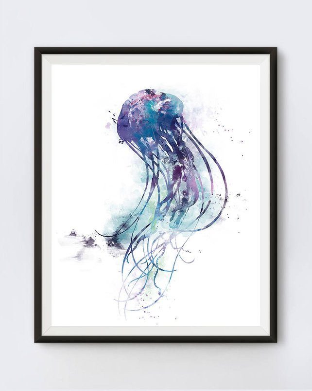 642x803 Jellyfish Print Watercolor Sea Life Decal Mural Fish Ocean Sea Etsy