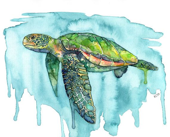 570x460 Watercolor Painting, Sea Turtle Painting, Sea Turtle Print, Sea