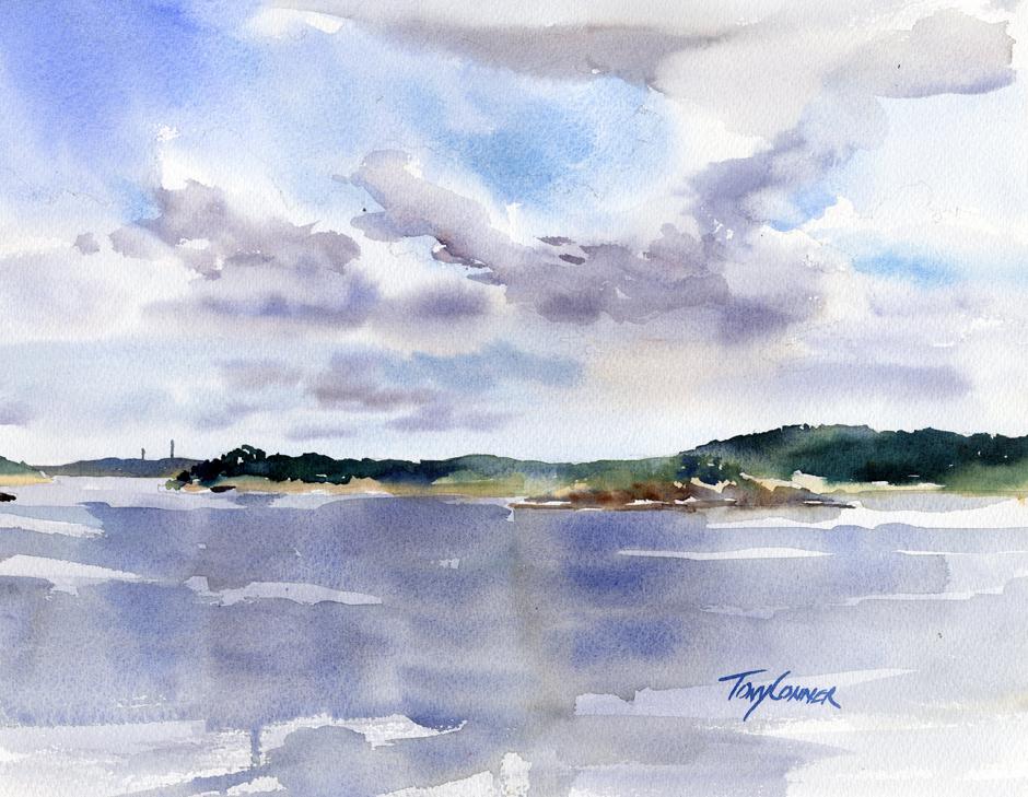 940x729 Ocean Lawn Original En Plein Air Watercolor Seascape