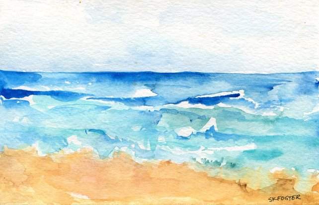 642x412 Original Seascape Watercolors Paintings 4 X 6 Inches Modern Etsy