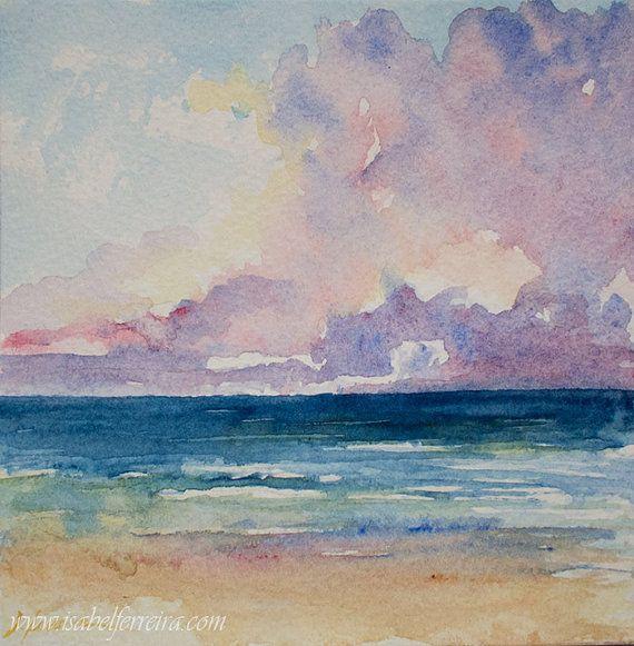570x581 Original Watercolor Painting, Horizon, Beach Painting, Seascape