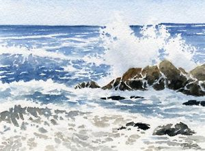 300x221 Pacific Seascape Ocean Waves Watercolor 8 X 10 Art Print Signed By