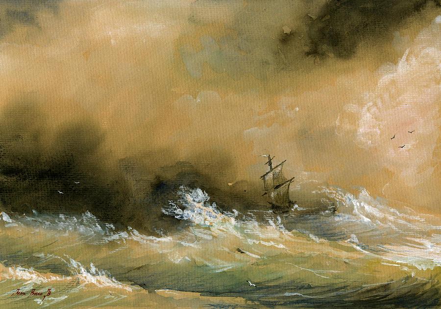 900x630 Sail Ship Watercolor Painting By Juan Bosco