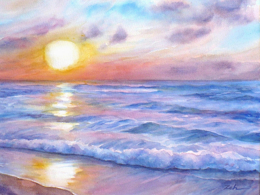 900x675 Sunset Beach Hawaii Seascape Painting By Janet Zeh
