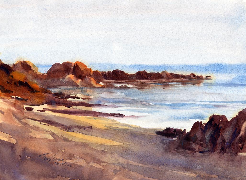 1028x752 Beach Original Watercolor Seascape Vermont Watercolor
