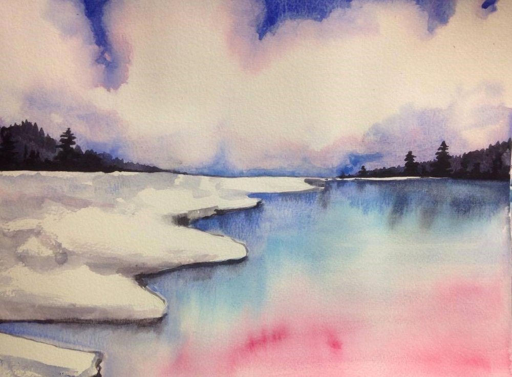 1000x737 Watercolor Seascape Calm Winter Maria Rizzo Art