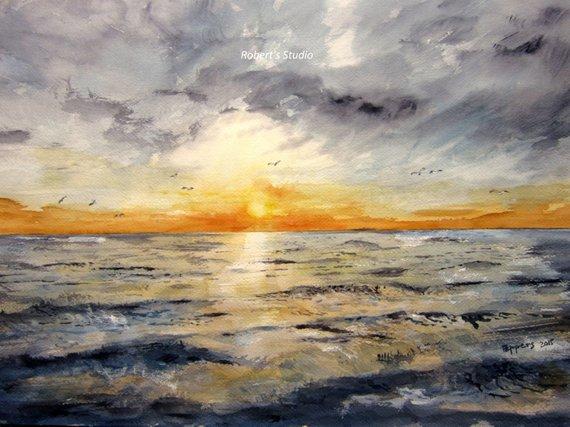 570x427 Watercolor Seascape Archival Print Landscape Painting Ocean Etsy