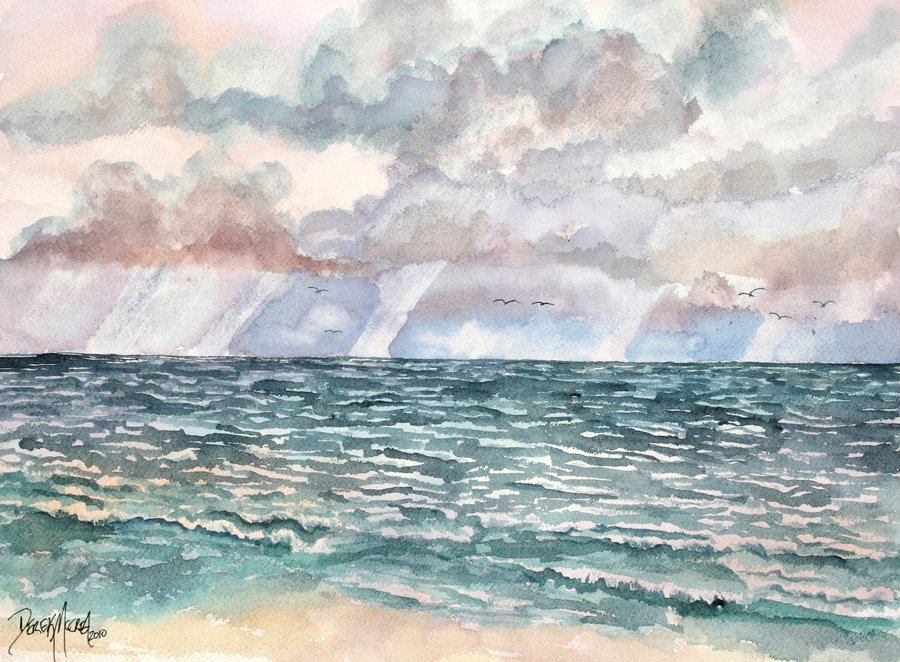 900x662 Lavender Seascape Beach Watercolor Painting By Derekmccrea On