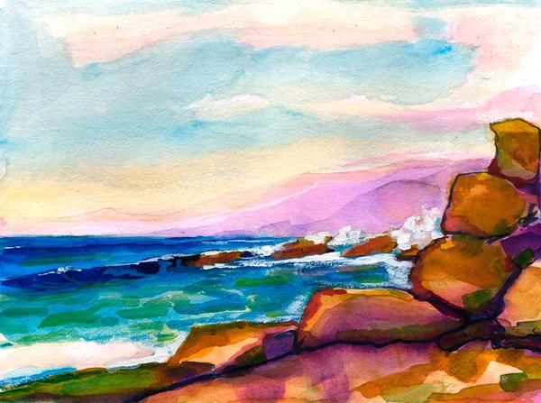 600x447 Central California Original Seascape Watercolor Painting. Artist