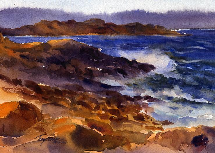 739x527 Evening Surf, Bass Original Watercolor Seascape Painting