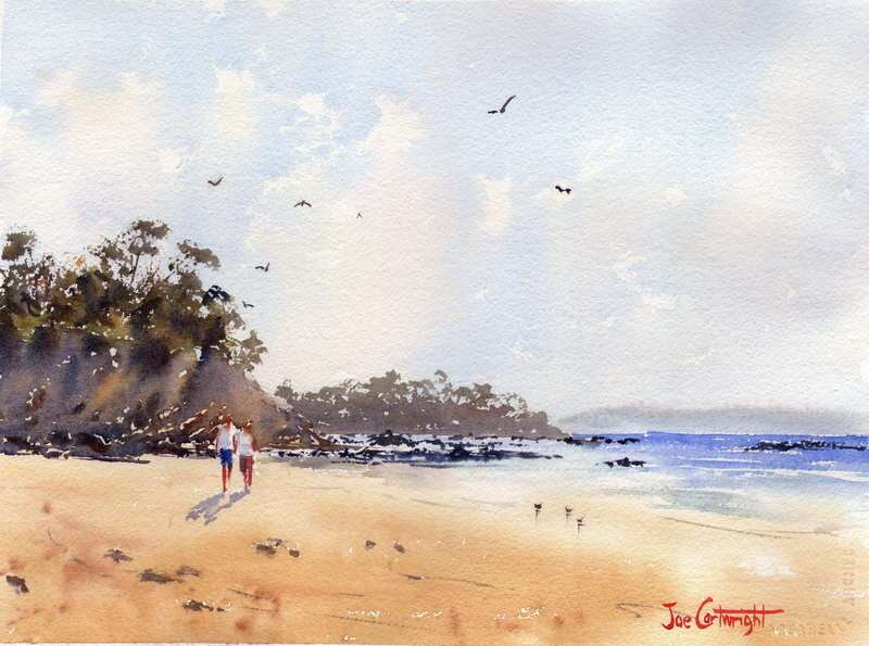 800x595 Finished Watercolor Seascape Painting
