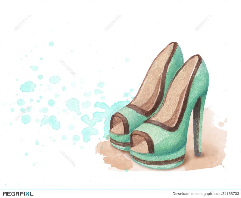 800x657 Watercolor Shoes Illustration Illustration 34188733