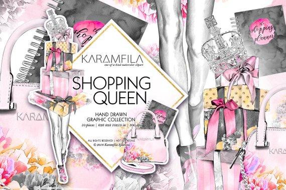 570x379 Shopping Queen Clipart Cute Planner Girl Clipart Fashion Etsy