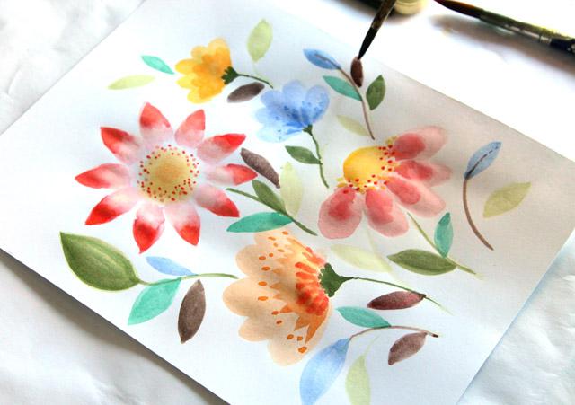 Watercolor Simple Flowers