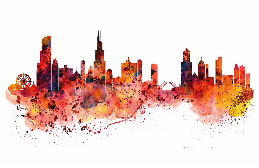 900x582 Chicago Watercolor Skyline Painting By Marian Voicu