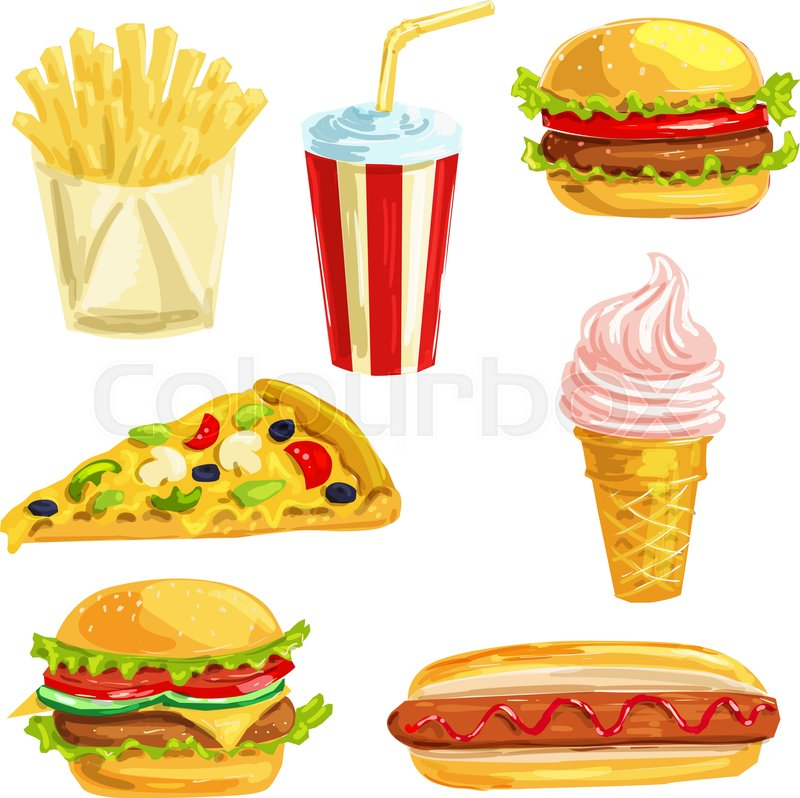 800x798 Fast Food Lunch Meal With Dessert Hand Drawn Watercolor Set