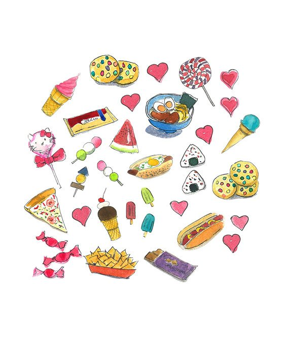 570x665 Snacks Clipart Watercolor Clipart Printable Home Decor Etsy