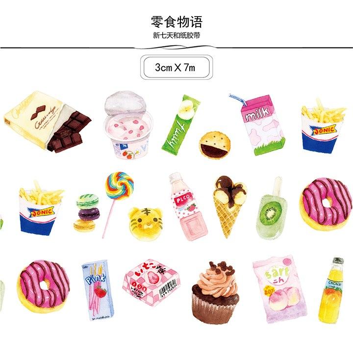 720x720 Snacks Decor Journal Decorative Masking Tape Kawaii School Tools