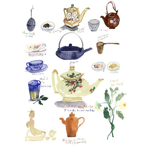 570x578 Watercolor Tea Poster In Items And Accessories Related To The