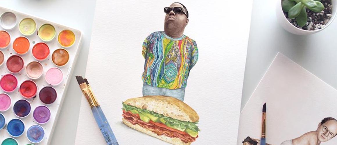 1160x500 Celebs On Sandwiches Neue Watercolor Snacks Von Jeff Mccarthy