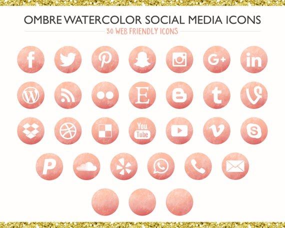 Watercolor Social Media Icons