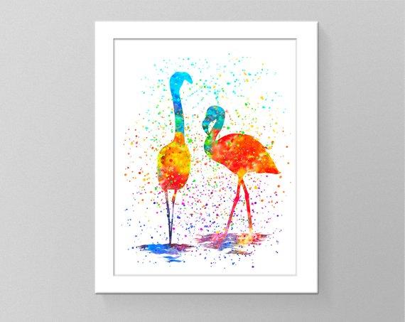 570x453 Flamingo Art Watercolor Splash Art Pictures Poster Rainbow Etsy