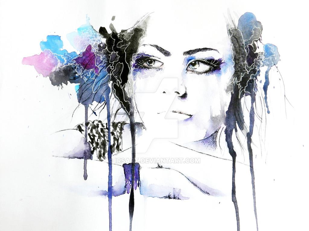 1024x768 Music Splash, Portrait In Watercolor By Irsart