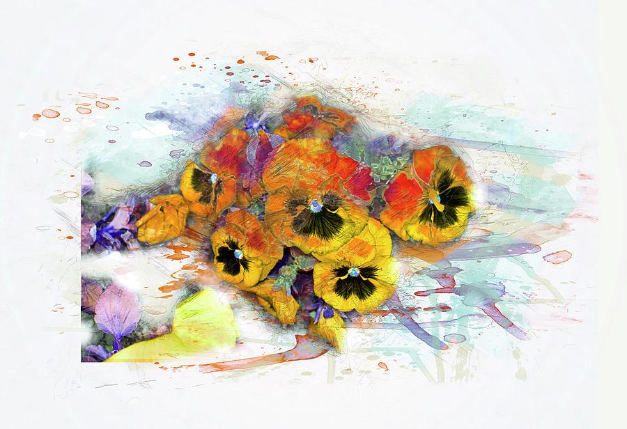 900x616 Pansy Flowers, Watercolor, Splash Digital Art By Gabriele Huller