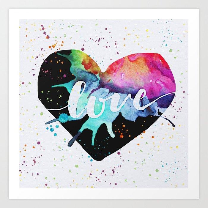 700x700 Rainbow Heart Love Watercolor Splash Art Print By Erinmorris
